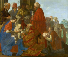 Hendrick ter Brugghen The Adoration of the Kings Netherlands (1619) Oil on canvas, 132.5cm  160.5 cm. The infant Christ sits on the lap of his mother, the Virgin Mary, while the three kings present him with gifts. It is striking that the figures are show (medievalpoc) Tags: art history netherlands kings adoration magi ter hendrick medievalpoc bugghen