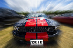 Mustang (Waving lights in the dark) Tags: radial radialblur blur motion motionblur automotive car vehicle speed layer mask layermask photoshop mustang fordmustang vintage ford motor sony zeiss
