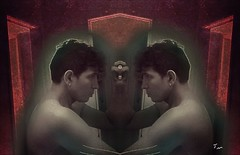 Self Reflection (jensenmerréll) Tags: self selfportrait spc portrait double shirtless noshirt male profile faceprofile artdeco maroon red blackandwhite photoedited jensenmerréll person people
