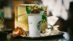 At Starbucks (Shanghai, China), 06-2016 (Vlad Meytin, vladsm.com) (Vlad Meytin | Instagram: vmwelt) Tags: pictures china urban green cup coffee drunk trash paper photography cafe asia warm shanghai sony streetphotography wrap coffeeshop indoor eaten used starbucks meal napkins finished tray   muffin  sonyalpha sonya7 khimporiumco meytin vladmeytin vladsm vladsmcom fe5518