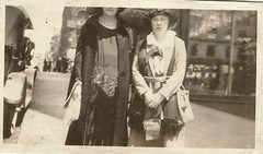 ladies on the street- partial heads, only (912greens) Tags: streets cities 1900s fashion style womentogether shoppers cars automobiles hats badlycropped offwiththeirheads folksidontknow streetscenes