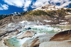 The result of global warming (NIOphoto.) Tags: longexposure summer mountain lake snow mountains alps ice water schweiz switzerland waterfall glacier summit belvedere gletscher alp rhone furka furkapass