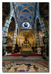 Il Duomo, Siena (Descended from Ding the Devil) Tags: 5exposures chianti italy lightroom siena sonya7mkii sonyalphadslr tuscany altar arches ceiling church duomo flags flowers fullframe mirrorless paintings photoborder pillars vertorama