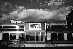 DSR2-023-10 (David Swift Photography Thanks for 16 million view) Tags: windows food signs reflection film philadelphia clouds 35mm restaurants ilfordxp2 dives diners southphilly yashicat4 davidswiftphotography