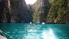 In search of hidden beaches Phi Phi Thailand (leewoods106) Tags: trip travel blue sea vacation sky holiday green water beautiful landscape thailand boats photography landscapes boat photo asia southeastasia phiphi photos speedboat indianocean stunning limestone traveling majestic kohphiphi kophiphi andaman andamansea traveler beautifulplaces speedboats limestonepeaks limestonecliffs kohphiphiley kophiphiley stunninglandscapes