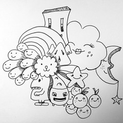 In the beginning (kennardandrea) Tags: blackandwhite fun happy funny faces clusters smiles expressions doodle emoticons elements kawaii characters emotions crowds frowns