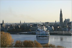 Cruise Ship Balmoral ... Fred.Olsen Cruise Lines. Arriving and Turning. (Aquarius15) Tags: autumn trees sky water birds skyline architecture clouds boats waves belgium gulls ships antwerp fredolsencruiselines cruiseshipbalmoral arrivingandturning riverthescheldt
