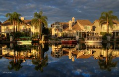 Bright and Cloudy (Mine Beyaz) Tags: california morning blue cloud lake sunrise reflections cloudy palmtrees palmiye mavi yorbalinda eastlakevillage