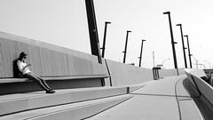 woman on a bridge (micagoto) Tags: woman bench hamburg brücke hafencity