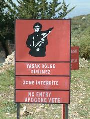 OK, I got the message (cyclingshepherd) Tags: 2005 red english sign bar danger french gun rifle cyprus april noentry entry turkish zone interdite barred unfriendly vete unwelcome s602 yasak girilmez blge zoneinterdite cyclingshepherd apogore
