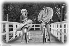 Happy Dayz (THE SMOKING CAMERA HeRvEy BaY davefryer) Tags: camera new girls friends bw art classic beach girl monochrome bicycle dave canon bay pier blackwhite flickr pretty play image jetty 85mm award rubber smoking ring donut laugh queensland hervey aussie 18 torquay fryer 6d sunglasess davefryer
