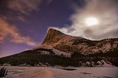 Geminid Meteor at Ha Ling Peak Canmore (John Andersen (JPAndersen images)) Tags: pink mountains night creek reflections kananaskis cloudy salmon alberta moonlight canmore meteorite geminids toinfinityandbeyond flickrdiamond