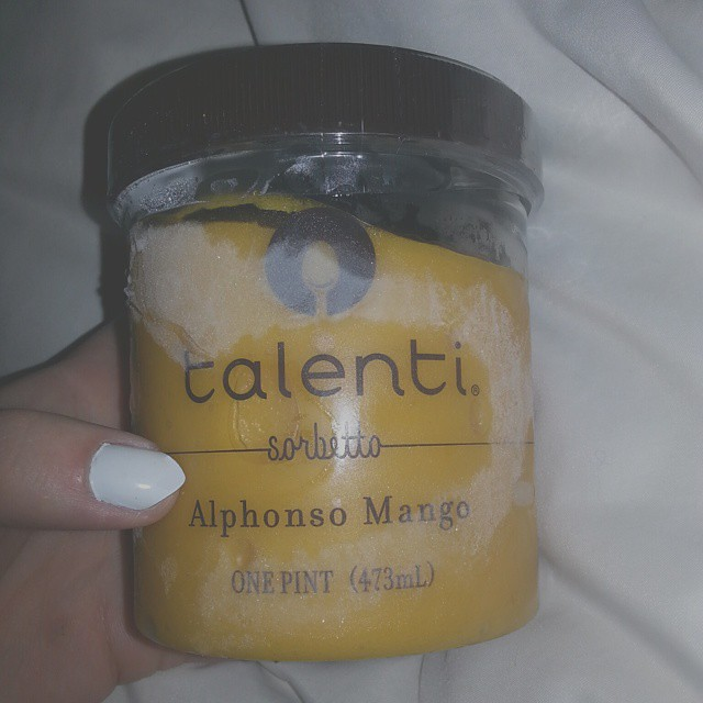 New Year, New Me... haha.. I have been waiting for thos to be available @safeway #talentigelato @talenti #sorbetto #alphonsomango #gelato #foodie #foodblog #hipster #indie #alternative #grunge #punk #pale #mango #pint #yum #yummy #zoieishipster