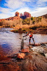 Brave Crossing (davecurry8) Tags: arizona crossing mountainbike sedona redrock cathedralrock oakcreek