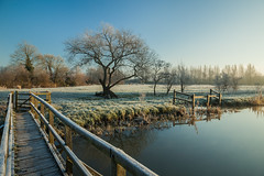 Rime (S l a w e k) Tags: uk morning trees winter england sky cold reflection grass river sussex frost footbridge bare frosty east clear willow valley rime ouse lewes