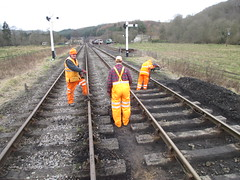 Mark, Stephen and Michael digging out sleeper bays 11Jan15