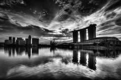 In the beginning (Katherine Young) Tags: city travel sky bw white black water architecture marina sunrise reflections bay nikon singapore asia cityscape wideangle hdr mbs d800 1635