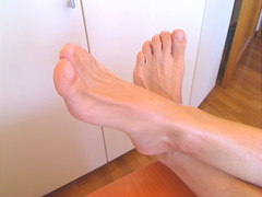Bare feet up on my desk (ShowMyBody69) Tags: boy sexy male guy feet toes bare arches massage heels soles smelly piedi tickling nudi