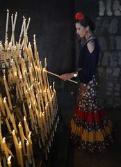 Cristina Fernandez (G de Tena) Tags: espaa flores mujer nikon religion huelva andalucia velas virgen rocio cera flamenca rezar elrocio trajedegitana