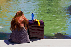 Shall I Stay or Shall I Go? (bev glint) Tags: travel venice italy holiday colour water girl hair canal suitcase waterbottle