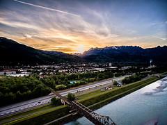 Buchs SG (MURUCUTU) Tags: bridge sunset sun mountains alps schweiz switzerland li highway sonnenuntergang suisse autobahn berge liechtenstein alpen svizzera rheintal brcke rhein schaan phantom4 dji murucutu