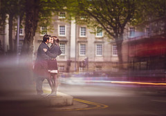Time runs slower when you are in love (Wojtek Piatek) Tags: longexposure travel ireland wedding dublin bus love zeiss engagement kiss couple sony trinity lightstreaks zeiss135 sonyflickraward