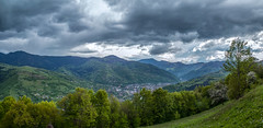 The Moment before Rain (Alex Demich) Tags: city trees houses sky panorama mountain mountains tree green tourism nature rain clouds forest landscape grey cycling cloudy outdoor hiking hill hills climbing valley carpathians slope slopes carpathian rahiv cloudsstormssunsetssunrises