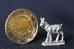 Ziege ist kleiner als eine Mnze (ingrid eulenfan) Tags: macro coin euro makro geld mnze zinnfigur macromondays smallerthanacoin
