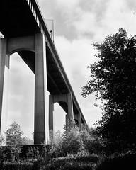 Under the Bridge (Brian Tremblay, photographer) Tags: blackandwhite ontario canada art landscape ilford largeformat saultstemarie crowngraphic filmphotography