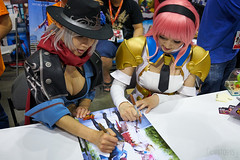 Spiral Cats' Tasha and Doremi autographing prints (vato915) Tags: cosplay tasha animeexpo doremi dfo dungeonfighteronline  spiralcats ax16  ax2016 animeexpo2016 animeexpo16