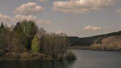 Dam of the River Olef (Netsrak) Tags: trees cloud tree water clouds forest de deutschland woods wasser dam wolke wolken eifel wald bume baum nordrheinwestfalen hellenthal talsperre forst oleftalsperre olef