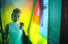 Funky Basement (Jon Siegel) Tags: city light urban woman film girl beautiful japan mystery night japanese 50mm tokyo evening nikon shinjuku glow magic details mysterious 12 filmcamera nikkor wandering secrets fe2 nikon50mmf12 nikkor50mmf12ais cinestill