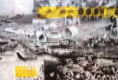 Flotsam of capital (Jenn Garland) Tags: urban abstract nature yellow collage painting landscape concrete photography ruins artist industrial australian minimal pollution disaster future raven utopia dystopia postnet jenngarland