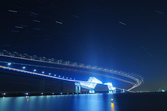 P6260256 (Zengame) Tags: bridge japan architecture night pen tokyo illumination landmark olympus illuminated cc jp creativecommons   zuiko   penf    wakasu   mzuiko  tokyogatebridge 12mmf20 mzuikodigitaled12mmf20