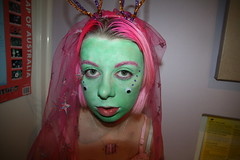Green Eyes (icecream-eyes) Tags: pink portrait green halloween face hair eyes pinkhair googlyeyes