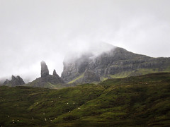 {Skye} old man of storr (Y.T. Chu) Tags: old cloud mist man skye canon landscape scotland highlands sheep isleofskye cloudy isle herd s90 oldmanofstorr storr