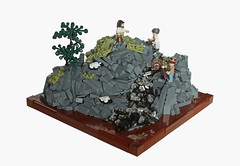 Aquam de Petra (Digger1221) Tags: wood black tree green castle water rock stone river de spring stream sheep lego shepherd petra olive medieval creation trans build moc aquam