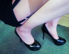 Platform heels (almostmichelle55) Tags: black feet stockings belt tv cross legs cd platform tgirl tranny transvestite heels dresser crossdresser suspender