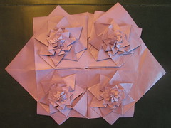 3 Level Flower Tower Tessellated (georigami) Tags: paper origami papel papiroflexia