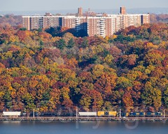 Foliage in Riverdale on the Hudson River, New York City (jag9889) Tags: nyc newyorkcity autumn usa ny newyork building fall colors architecture train river landscape newjersey apartment unitedstates bronx unitedstatesofamerica foliage hudsonriver thebronx waterway 2014 riverdale northriver englewoodcliffs allamericacity jag9889 20141111