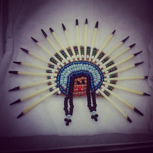 Lena Moon created her piece Indian Head from quills, beads and skin. It was one of many beautiful #Yukon crafts for sale at Spruce Bog fair #yxy