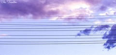 Sky lines (Chi Tranter) Tags: pink blue sunset clouds grey pastel powerlines wires