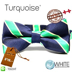 Turquoise' - หูกระต่าย ลายเฉียง สี น้ำเงิน เขียวมิ้นต์ Premium Quality