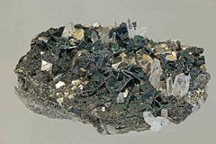 Wurtzite coated by Chalcopyrite on Pyrite and Quartz. (Ron Wolf) Tags: nature montana butte crystal hexagonal mineral geology earthscience mineralogy wurtzite