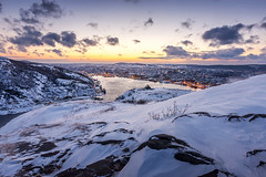winter harbour, St. John's, Newfoundland (tuanland) Tags: city winter sunset white snow canada cold ice port newfoundland landscape evening nikon cityscape harbour dusk hill stjohns signalhill nfld atlanticcanada d600 stjohnsharbour newfoundlandandlabrador downtownstjohns nikond600