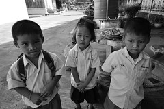 Friend. (FIVE S.P.) Tags: school boy white black girl thailand nice student friend uniform child little innocent young thai lovely      blackandwhiteonly