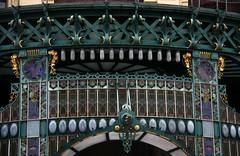 Art Nouveau in Prague: Stained glass and iron details of the Municipal House (Sokleine) Tags: architecture prague prag praha stainedglass secession artnouveau czechrepublic municipalhouse maisonmunicipale irondetails