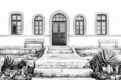 Not Quite Symmetrical... (Daniela 59) Tags: plants house building monochrome facade cacti bench steps namibia succulents grnau monochromemonday benchmonday danielaruppel thewhitehouseguestfarm
