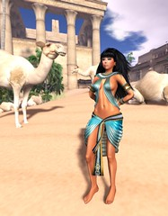 Egyptian Princess (jia.shaonu) Tags: second life secondlife avatar female woman girl princess egypt egyptian turquoise camel sand desert legs midriff tummy stomach sexy