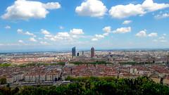 Lyon from Fourviere (Keinsei2) Tags: city sky urban cloud france building tower skyscraper europe tour lyon samsung rhne ciel credit a3 crayon nuage ville gratteciel incity partdieu sane lyonnais rhnealpes onlylyon
